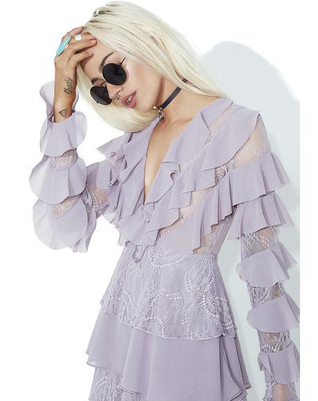 Lilac Ruffle Mini Dress