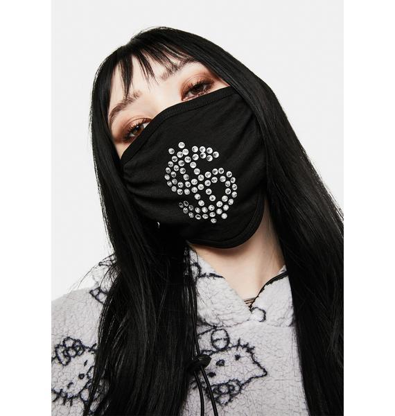 Matt Sarafa Dolla Sign Rhinestone Face Mask