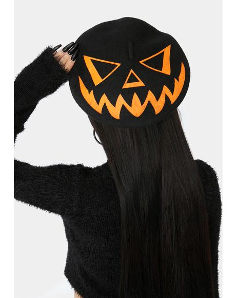 Trick Or Treat Pumpkin Black Beret