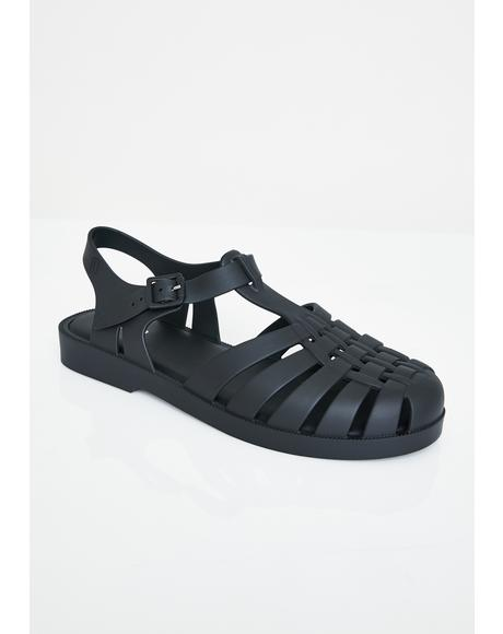 Dark Possession Jelly Sandals