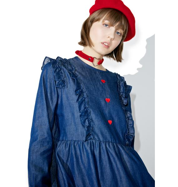 Lazy Oaf Frilly Denim Dress