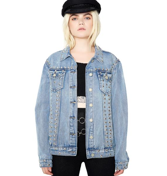 Glamorous Wrong Way Studded Denim Jacket