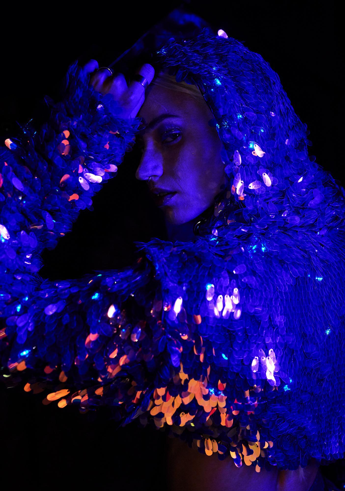 J Valentine Cosmic Ice Light Up Sequin Shrug