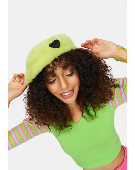 Ain't Easy Being Green Fuzzy Heart Beret