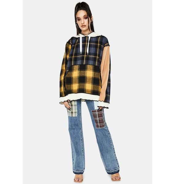 Jaded London Mixed Check Oversized Hoodie
