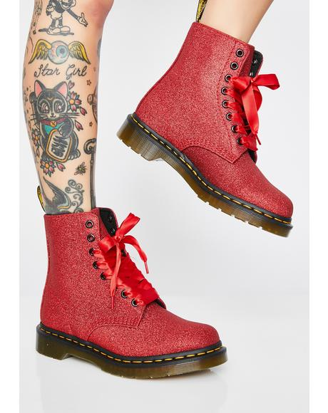 1460 Pascal Red Glitter Boots