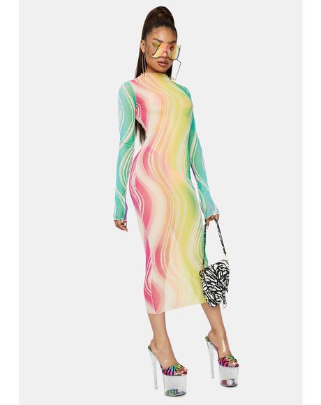 Dancing Moonlight Long Sleeve Mesh Swirl Midi Dress