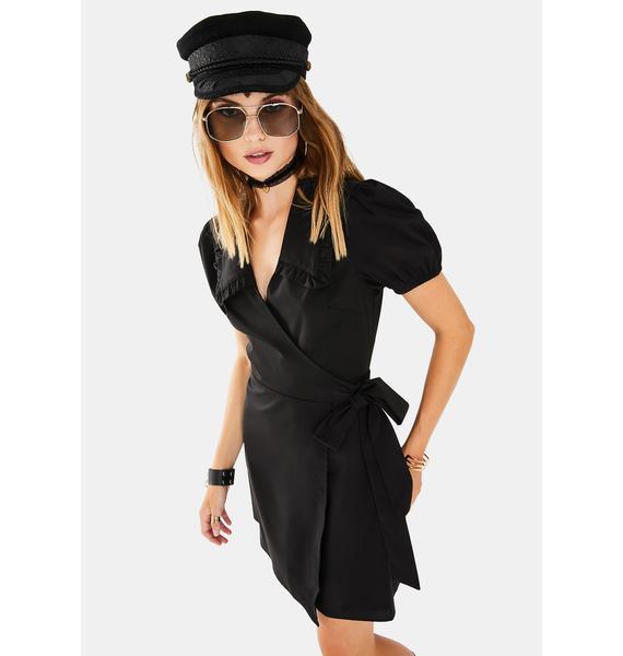 Glamorous Black Wrap Dress