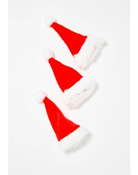 Little Wishes Santa Hat Hair Clips