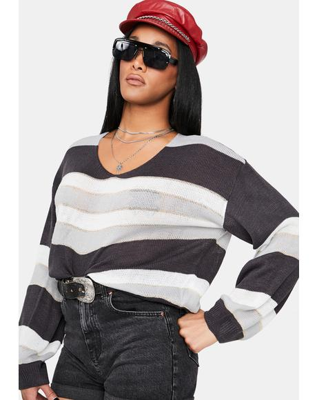 Grey Deceitful Nature Striped Sweater