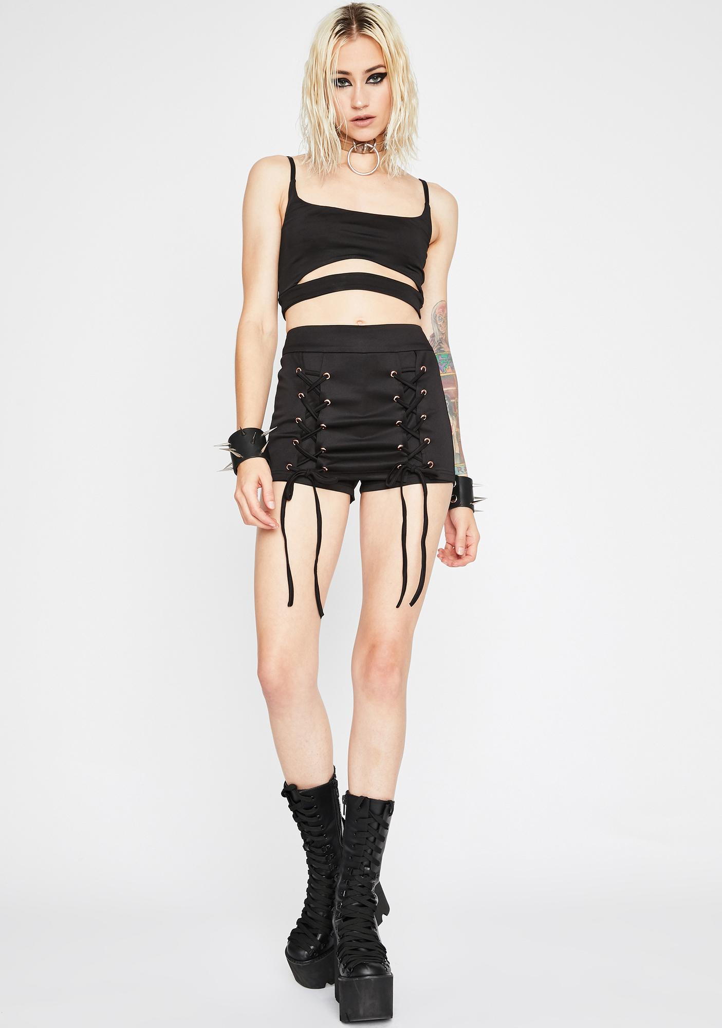 Raven Get It Poppin' Lace Up Skirt