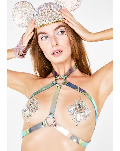 Holographic Halter Bra Harness