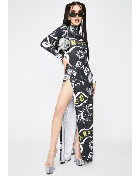 Punk Print Maxi Dress