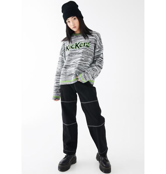 Kickers Marl Lime Logo Knit Sweater