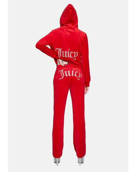 Coco Red Luxe Velour Juicy Logo Sweatpants