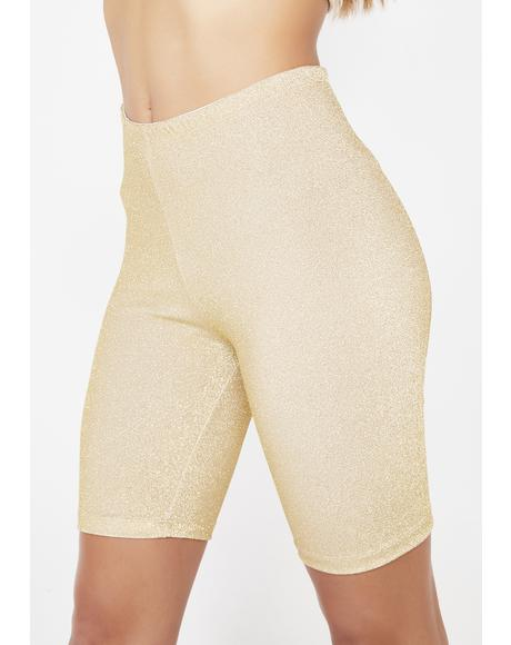 Golden Sparkle Sparkle Biker Shorts