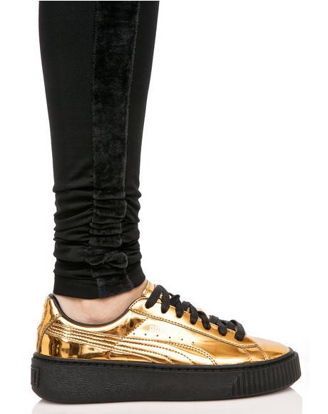 Gold Metallic Creeper Sneakers
