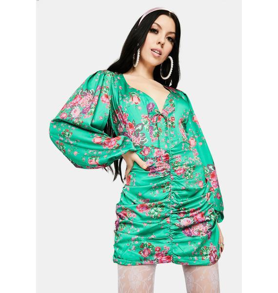 For Love & Lemons Green Wyatt Floral Mini Dress