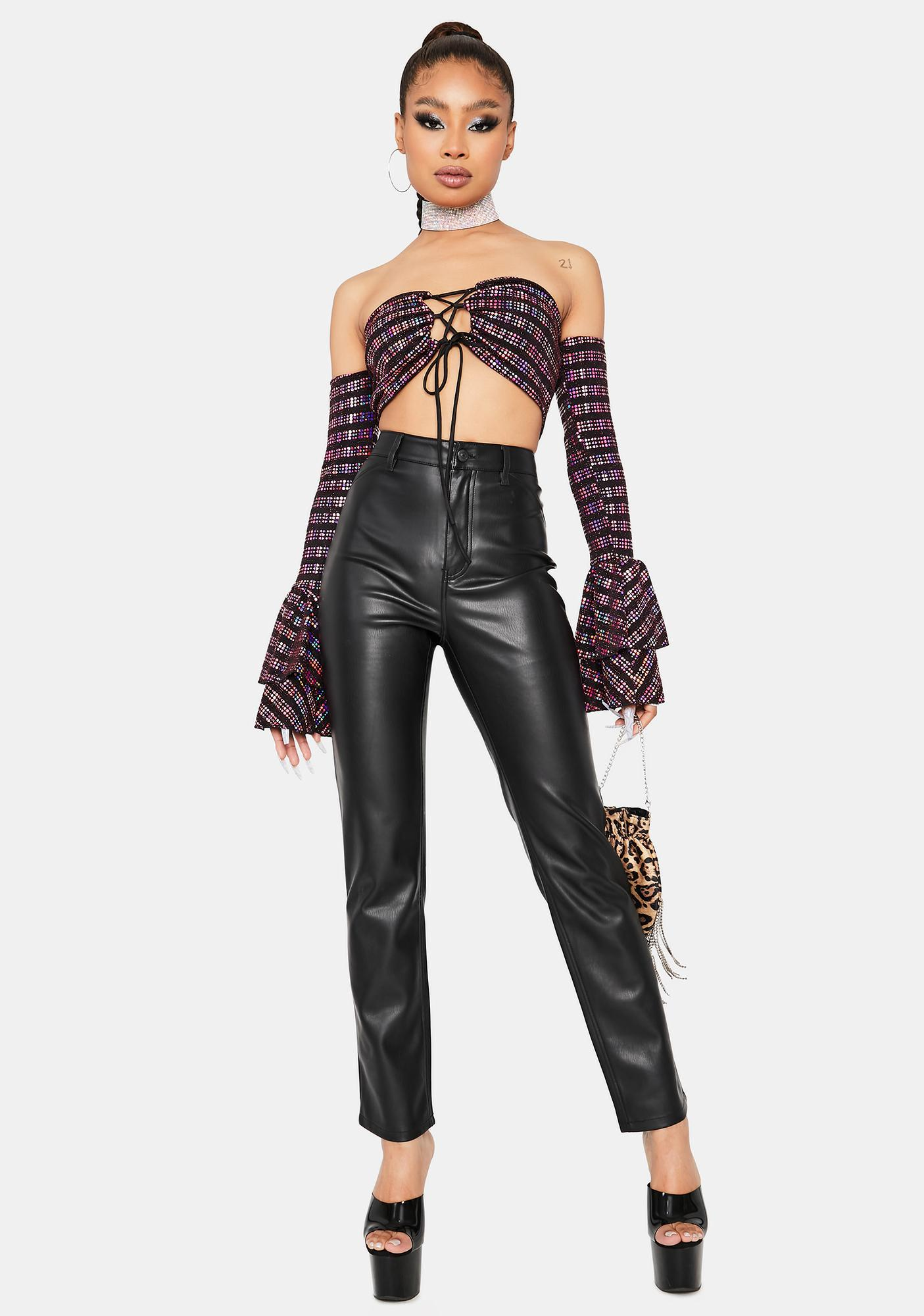 Sugar Wanting More Striped Lace-Up Crop Top