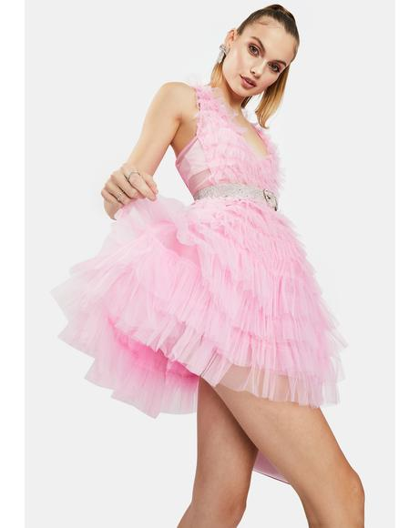 Pink Tulle Ruffle Mini Dress