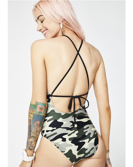Sad Camo One Piece Swimsuit
