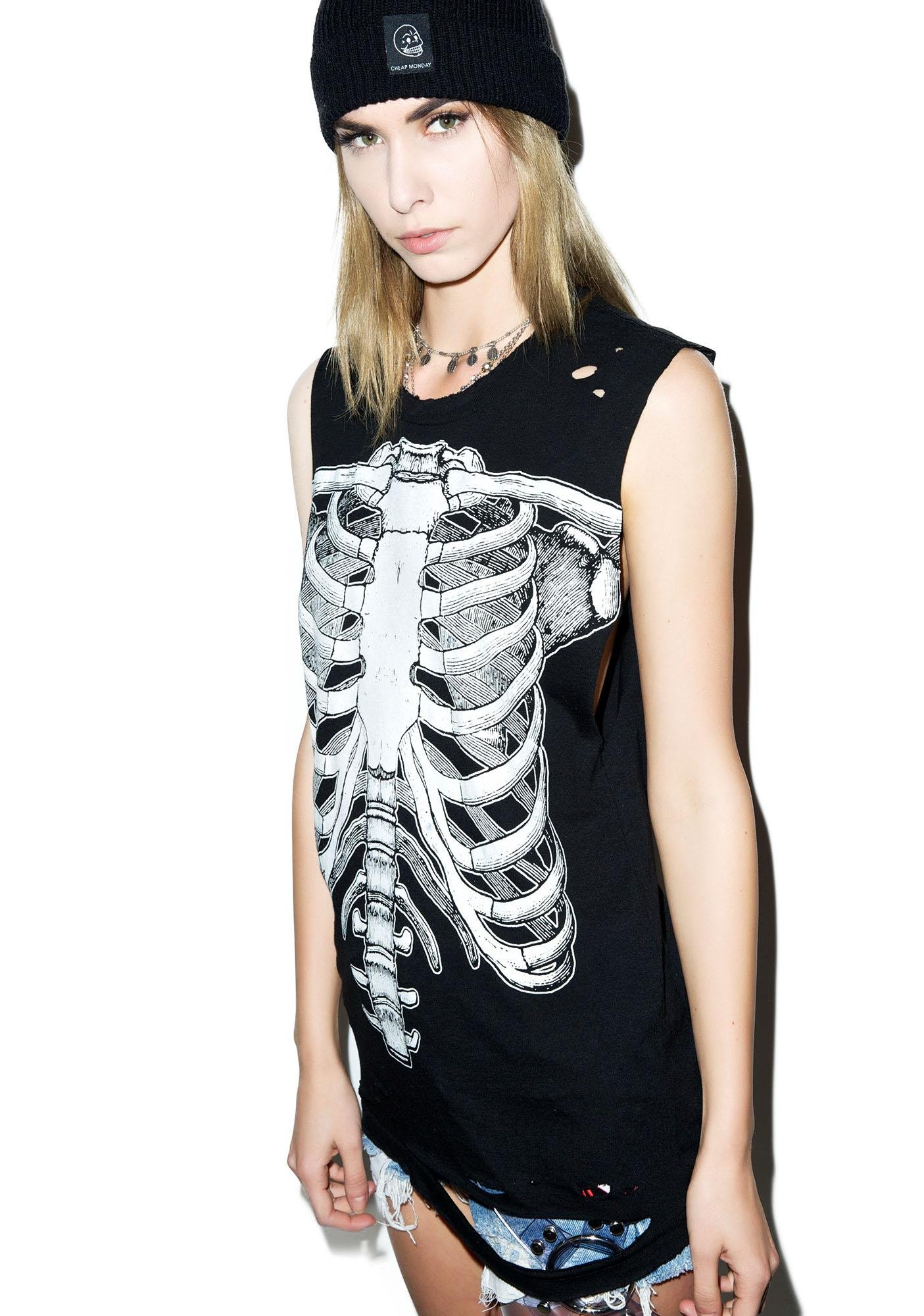 Hazmat Design Skeletee Cutoff Boyfriend Top