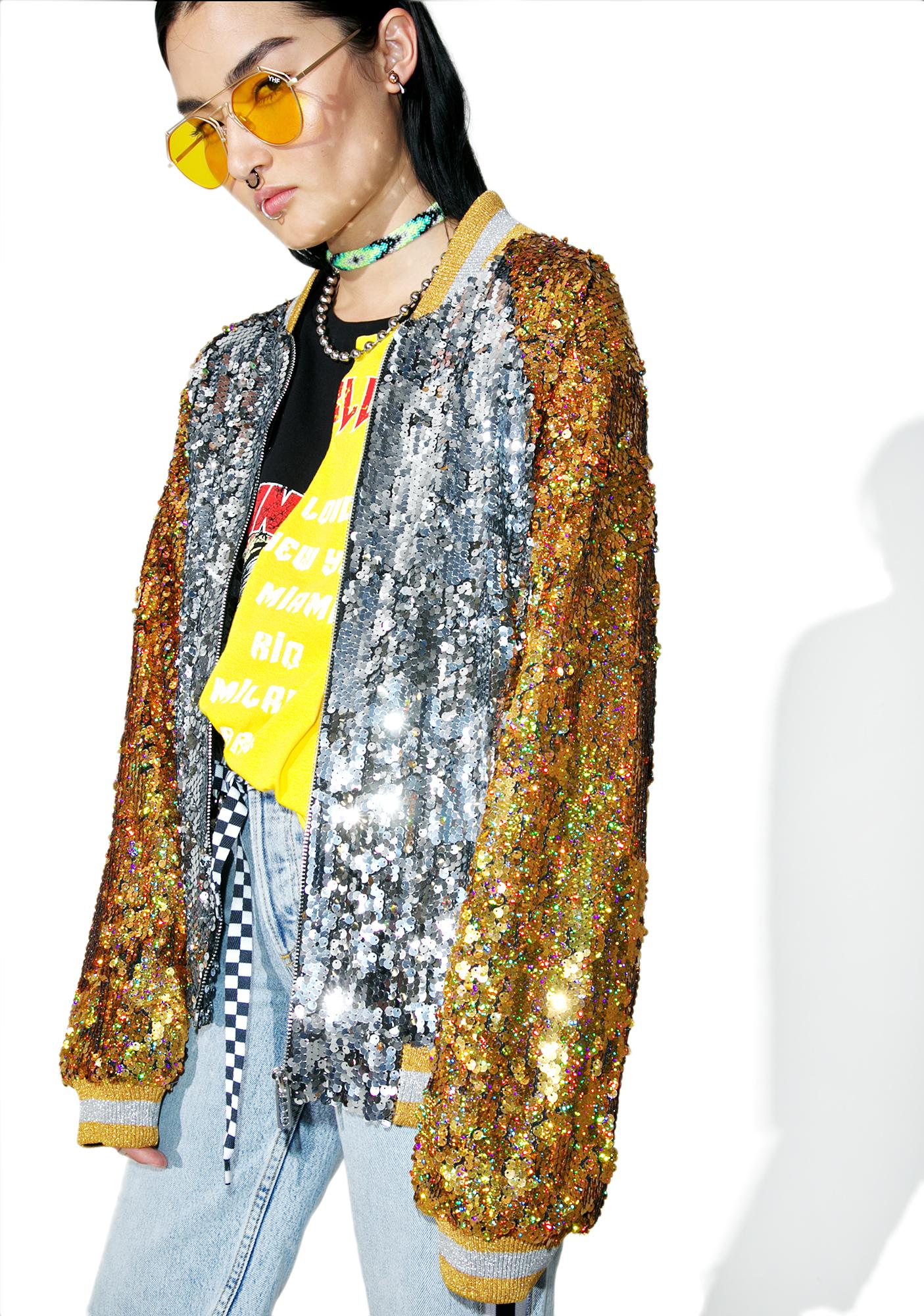 Jaded London Souvenir Sequin Bomber Jacket