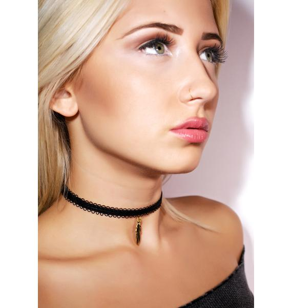 Vanessa Mooney Black Lace Feather Choker