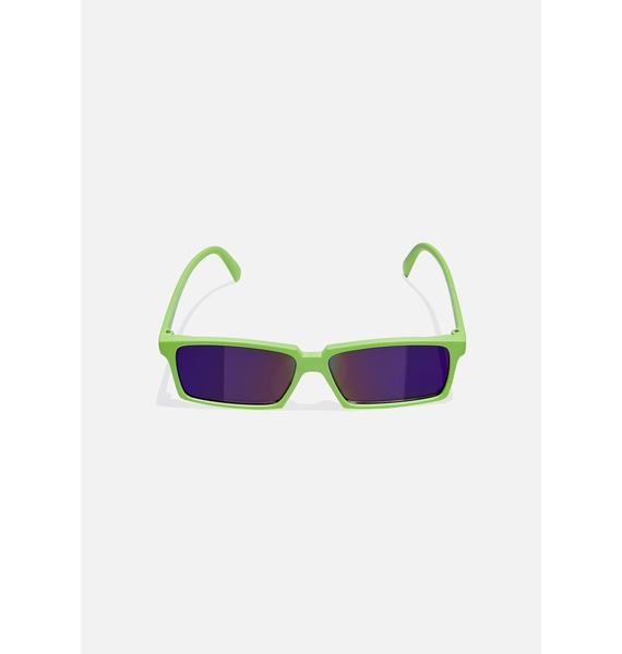Good Times Eyewear Green Rear View Square Sunglasses