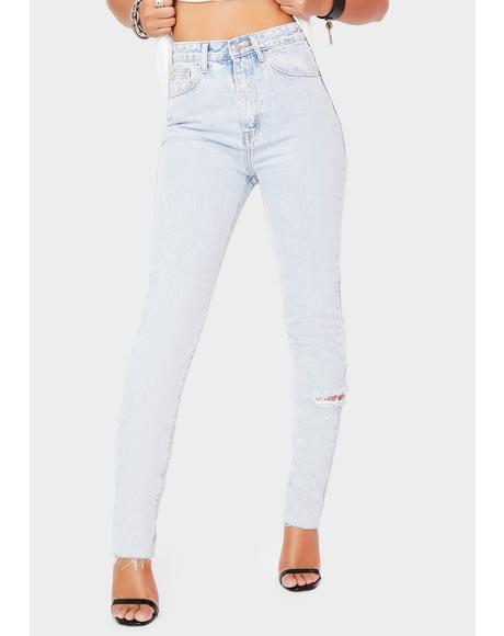 Light Wash Side Rip Straight Leg Jeans