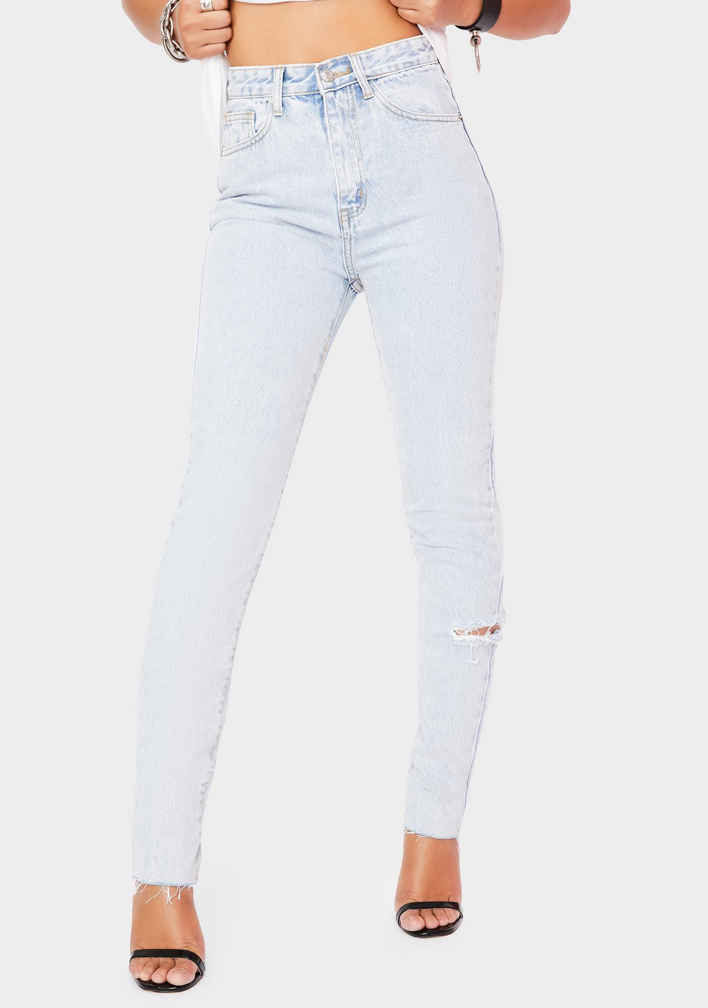 Momokrom Light Wash Side Rip Straight Leg Jeans
