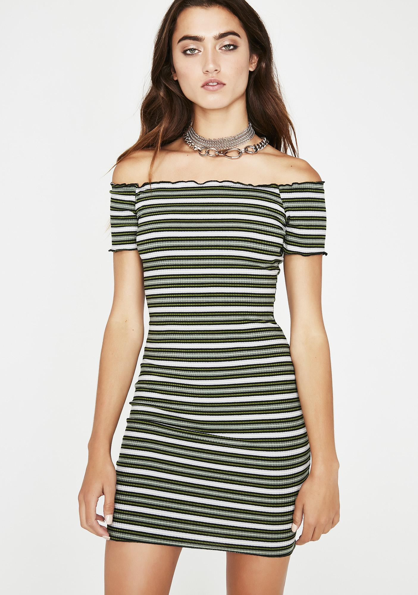 3c080f6d3e72 Stripe Off Shoulder Mini Dress