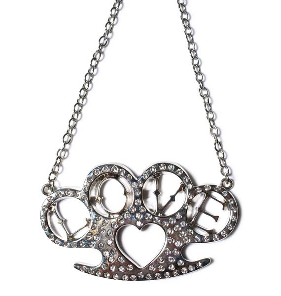 Heart Brass Knuckles Necklace