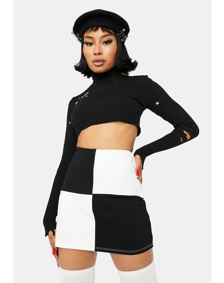 And Checkmate Bodycon Mini Skirt