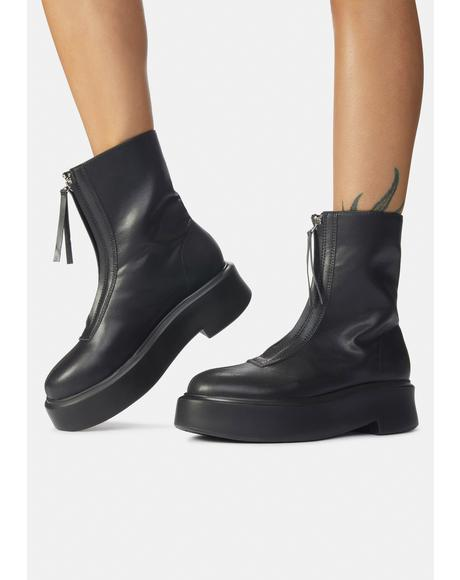 Black Leoni Zip Up Ankle Boots