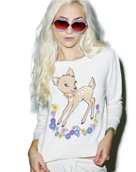Vintage Deer Couch Princess Sweater