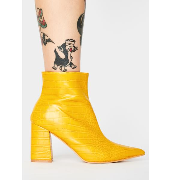 Public Desire Mustard Hollie Ankle Boots