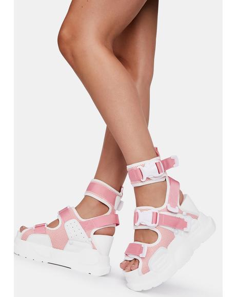 Pink White Mulberry Platform Sandals
