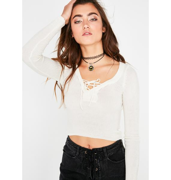 Icy Hands Tied Ribbed Top
