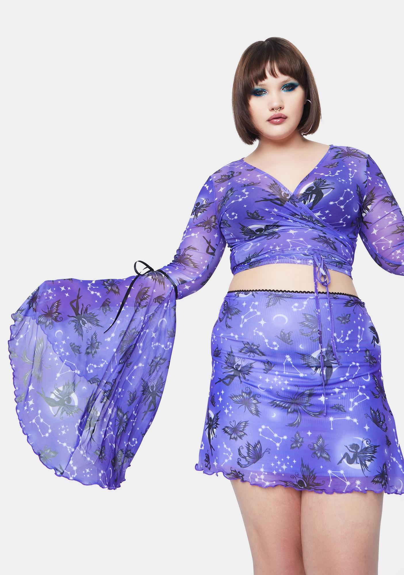 HOROSCOPEZ Always Heighten Senses Goth Fairy Mesh Bell Sleeve Top