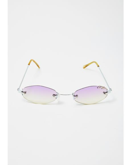 Pierced Gradient Oval Sunglasses