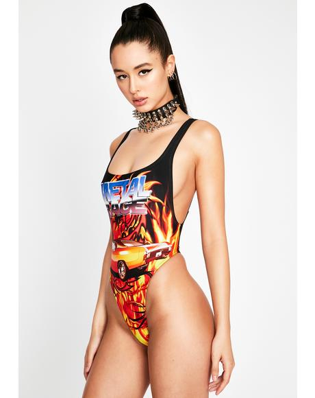 Flaming Car Print Square Neck Swimsuit