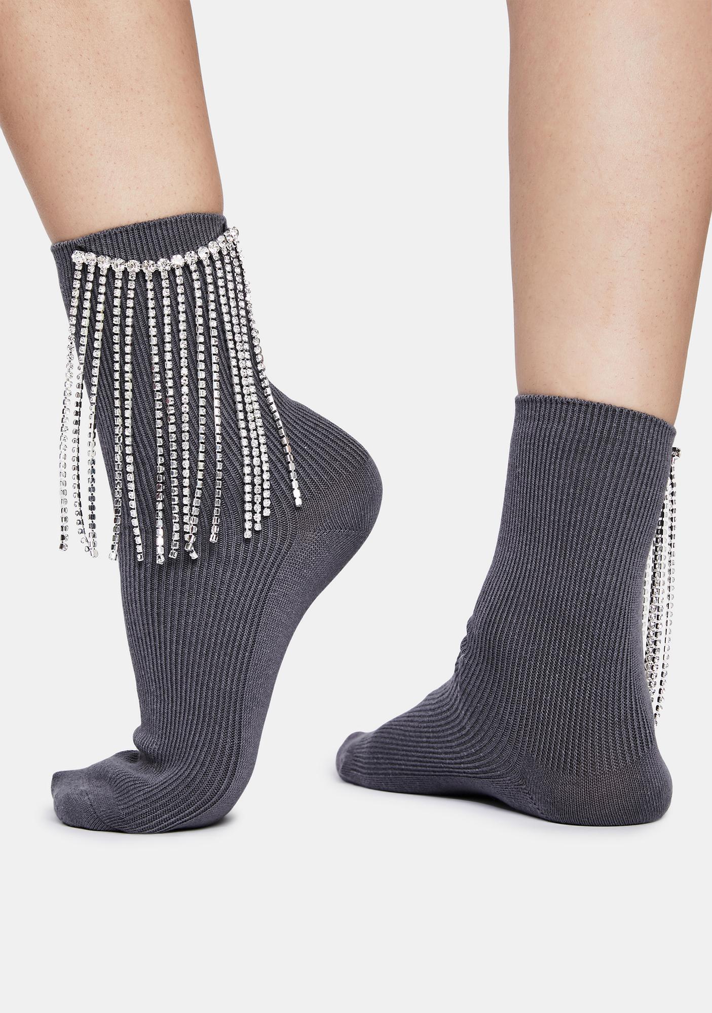 Stop And Stare Rhinestone Fringe Crew Socks