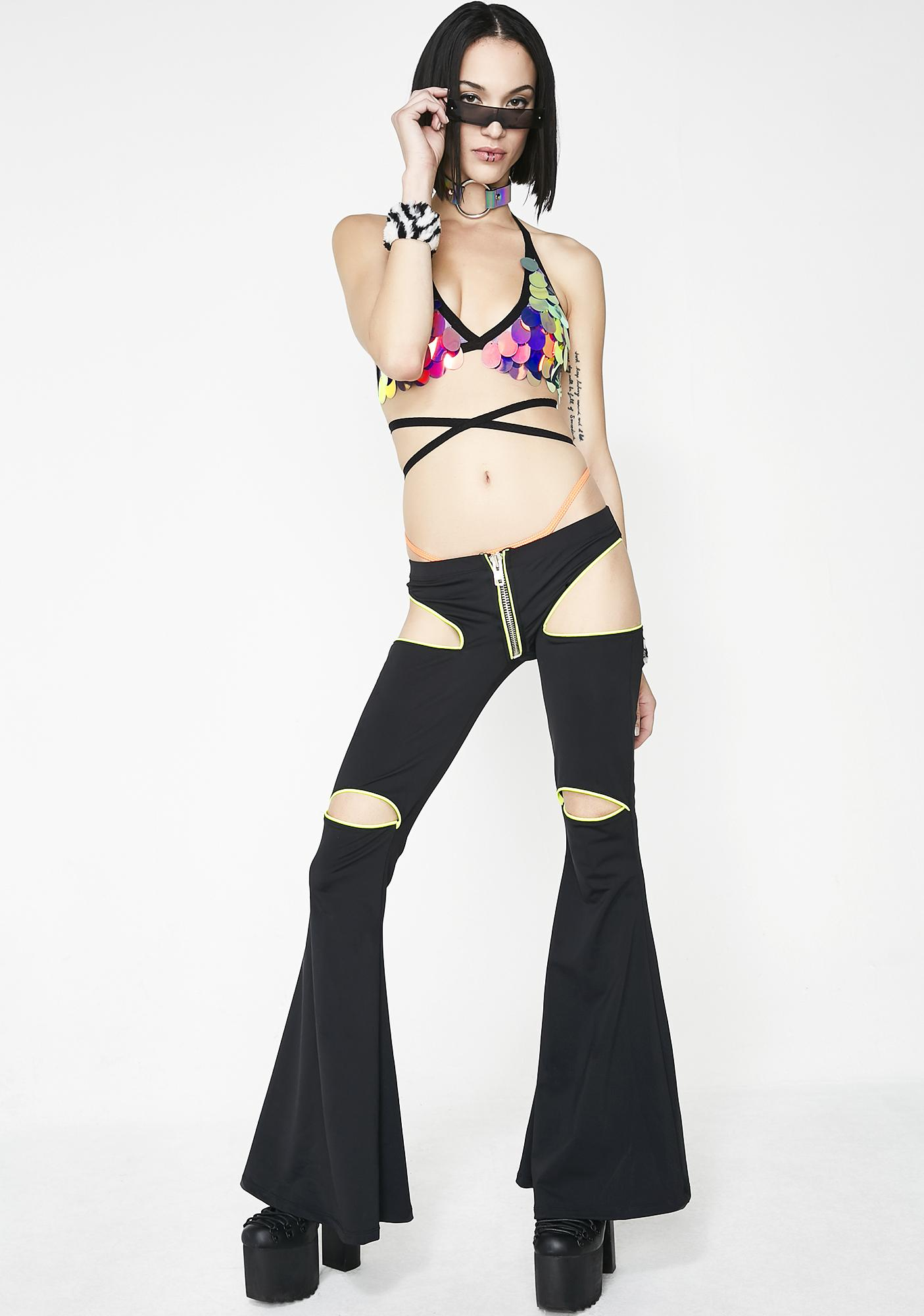 The Lyte Couture Nubula Sequin Triangle Halter Top