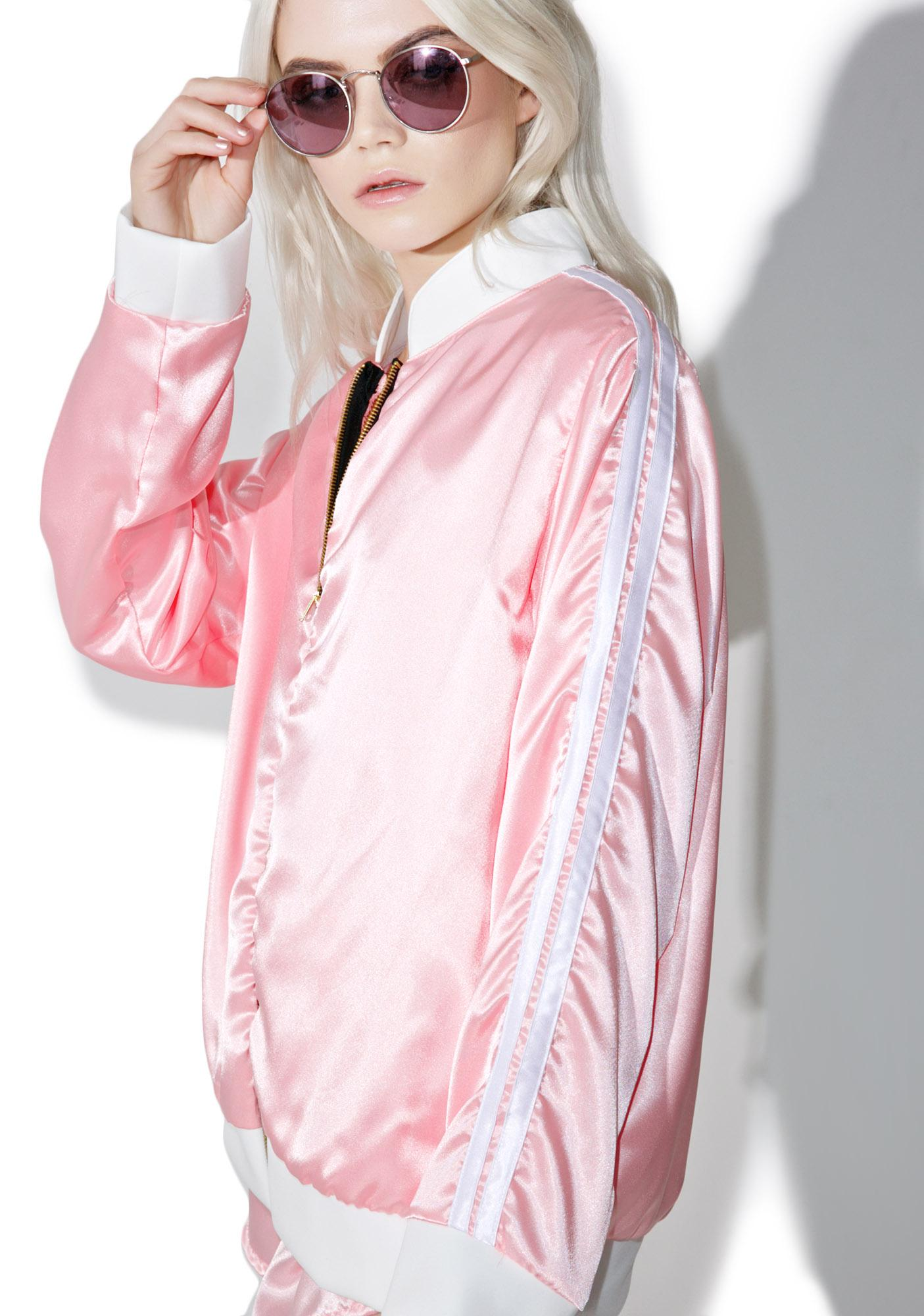 O Mighty Pynk Silk Kitten Bomber Jacket