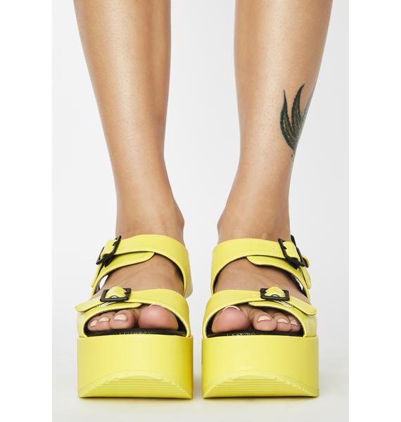 Rebels Pea Green Lori Platform Sandals