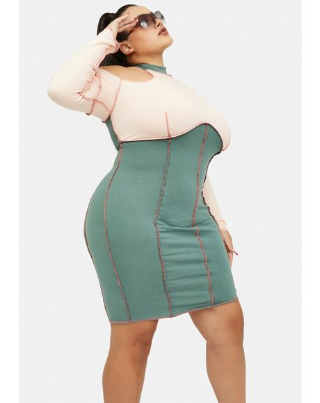 Blissful Wink Colorblock Bodycon Mini Dress