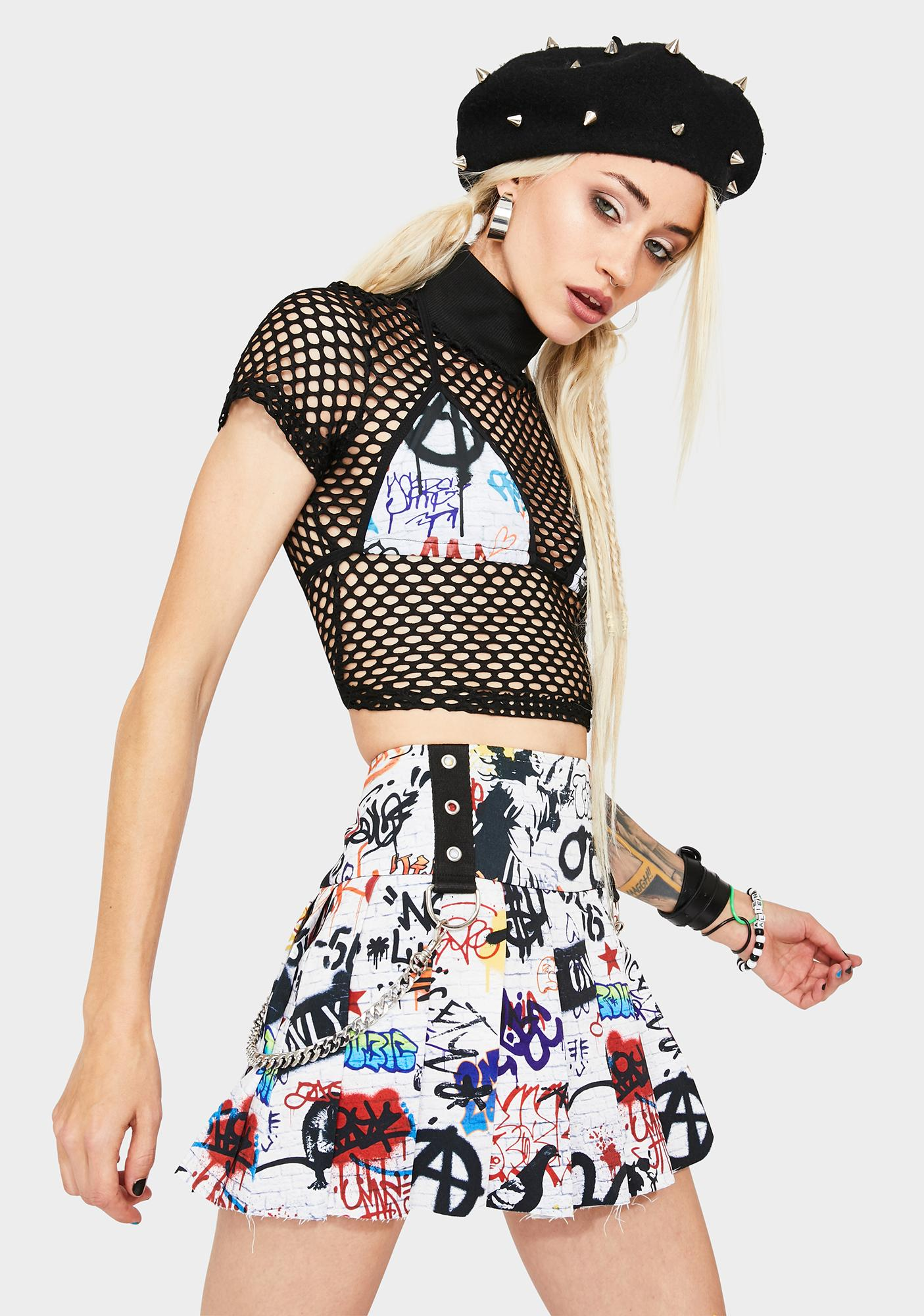 Current Mood Writing's On The Wall Pleated Skirt