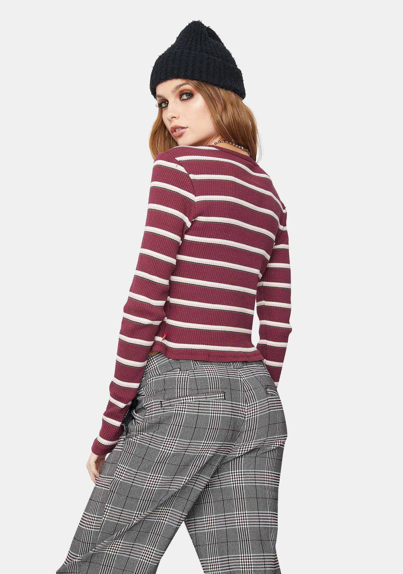 Dickies Girl Ribbed Striped Long Sleeve Tee