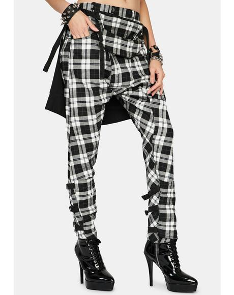 Plaid Drop Crotch Pants